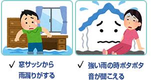 窓サッシから雨漏りがする 強い雨の時ポタポタ音が聞こえる